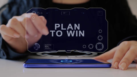 Female hand interacts hologram Plan to win Live Action