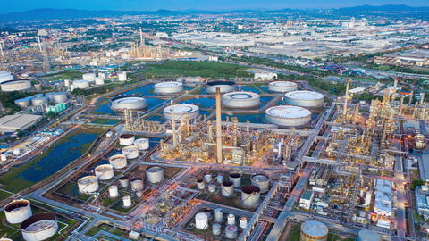Aerial view hyper lapse 4k video of oil refinery terminal is industrial facility Live Action