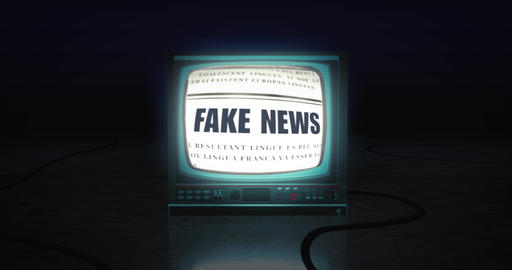Isolated single vintage retro tv shows fake news headlines on flickering screen in a dark room Animation