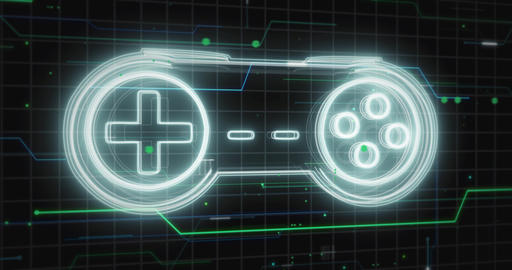 Glowing lines form game controller Gamepad hologram on black - Fly by animation Animation