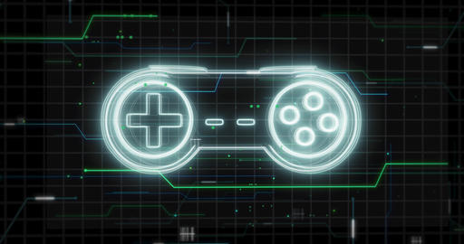 Glowing lines form game controller - Gamepad hologram on black - Static Animation