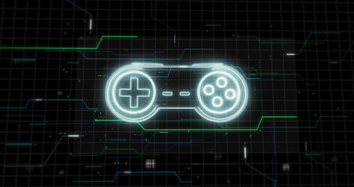Glowing lines form game controller - gamepad hologram on black - zoom out Animation