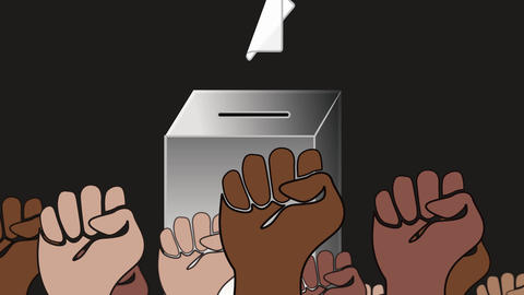 Fists of voters from different cultures in front of a ballot box - Digital animation on black Animation