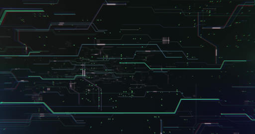 Flying inside network cyberspace cpu technology intro sequence with digital line Animation