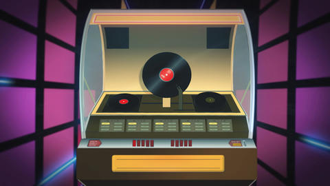 Vintage jukebox plays against a loop disco background Animation