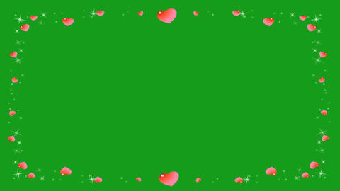 Hearts frame motion graphics with green screen background Animation