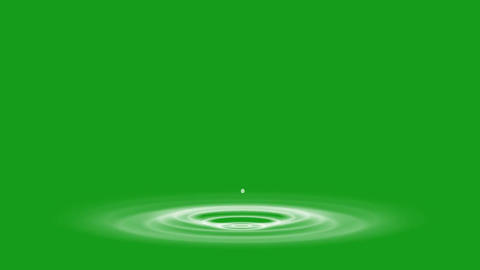 Falling water drops motion graphics with green screen background Animation