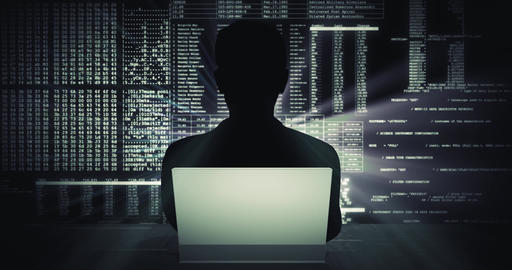 Silhouette of a man working on laptop against a digital code background - Loop CG動画