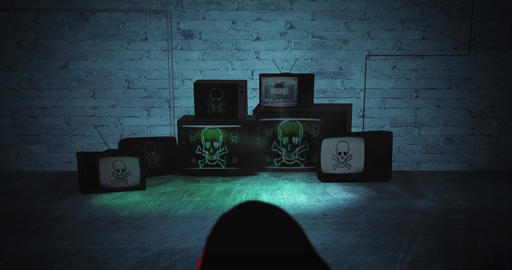 Reveal shot of person in abandoned room with old tv screens showing virus skull CG動画