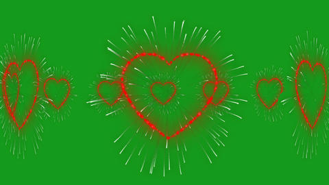 Circling hearts motion graphics with green screen background CG動画