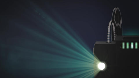 Retro film cinema projector throws a beam of light into the room - Loop Animation
