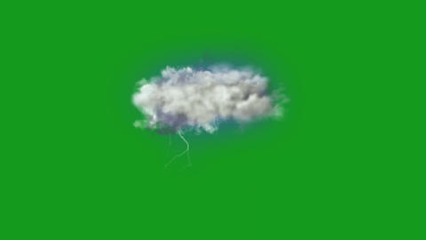 Rainy clouds motion graphics with green screen background Animation