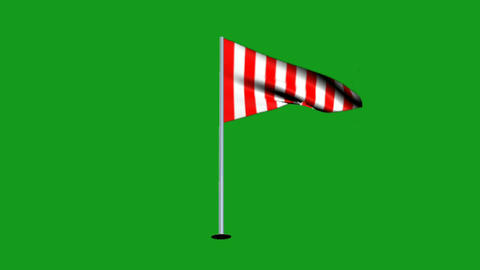 Wavy flag motion graphics with green screen background CG動画