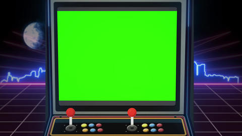 Retro arcade machine with green screen and glowing city skyline in the background - Seamless loop Animation