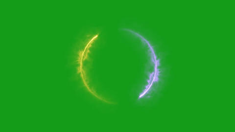 Circling energy arcs motion graphics with green screen background Animation