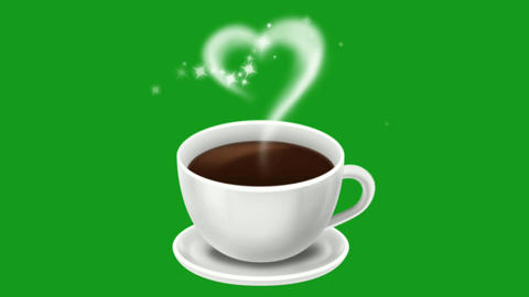 Coffee cup motion graphics with green screen background Animation