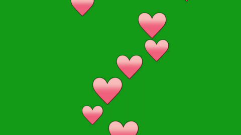Flying pink hearts motion graphics with green screen background Videos animados