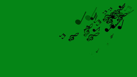 Music symbols motion graphics with green screen background Animation