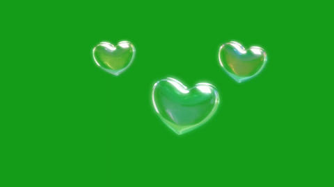 Shining heart bubbles motion graphics with green screen background CG動画
