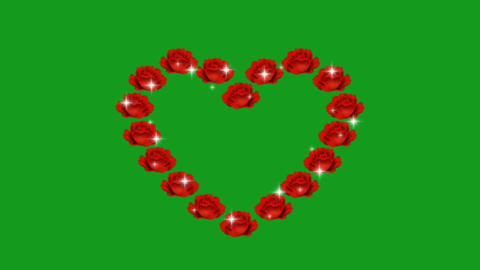Shining roses in the shape of heart with green screen background Animation