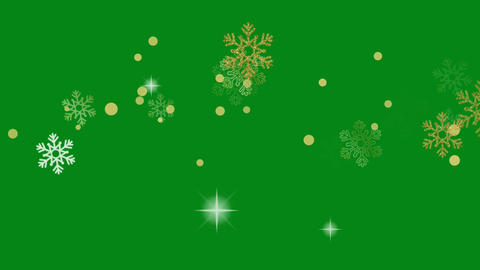 Snow flakes motion graphics with green screen background Animation