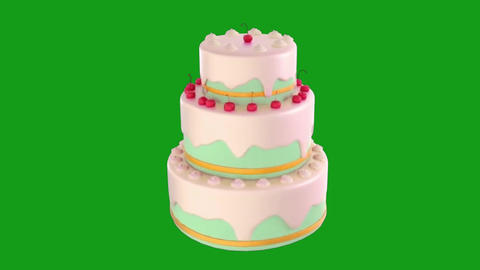 Rotating cake motion graphics with green screen background Videos animados