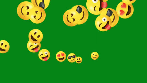Smily emojis motion graphics with green screen background Animation