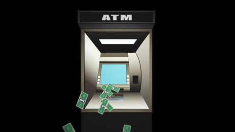 ATM Cash machine throws out bills - Digital animation on black Animation