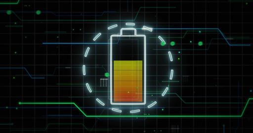 Battery symbol charged against technical computer background CG動画