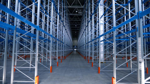 Indoors Large Modern Industrial Structures Warehouse Building With Metal Shelves Live Action