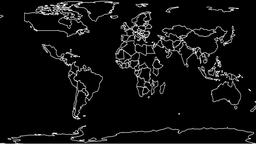 Drawing Political Map of the World, black and white Animation