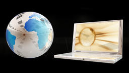 Earth Globe and Laptop opening, Alpha Channel Animation