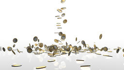 EUR coins falling on white reflective floor, camera rotation Animation