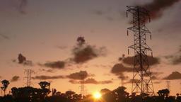 Electricity pillars, timelapse sunrise Animation