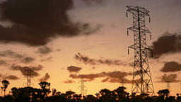 Electricity pillars, sunrise timelapse Animation