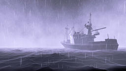 Fishing boat, ocean storm with lightnings Animation