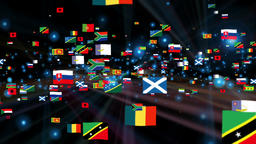 Flags of the World shine, camera fly through, black Animation