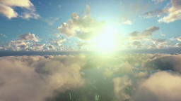 Flight above morning clouds Animation