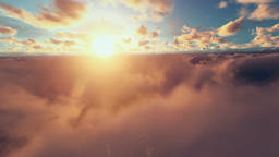 Flight above sunrise clouds Animation