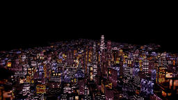 Flying above City at Night Animation