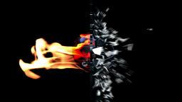 Football-Helmet on fire breaking glass Animation