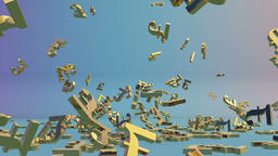 Golden GBP sign falling Animation