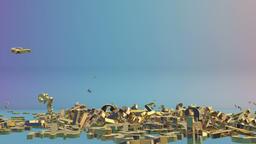 Golden GBP sign falling,Alpha Animation