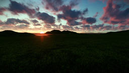 Green meadow and ocean against beautiful timelapse sunrise Animation