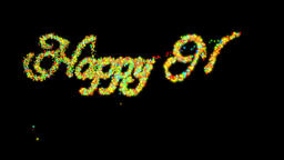 Happy New Year made from colorful particles, against black Animation