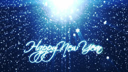 Happy New Year, holiday background with snowflakes against blue Animation