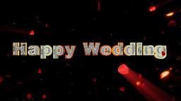 Happy Wedding and rose heart exploding, shine Animation