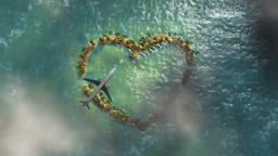 Heart shaped island and aircraft flying, travel background Animation