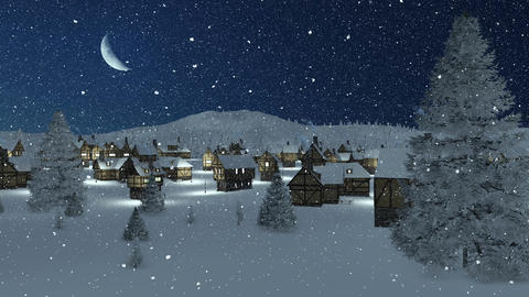 Snow-covered town at snowfall night with half moon Animation
