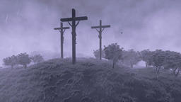 Jesus on cross, tilt, time lapse clouds and stormy weather Animation
